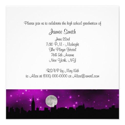 Graduación púrpura de la luna de la silueta del ho comunicado personal
