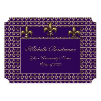 Graduación púrpura del trío de la flor de lis del invitación 12,7 x 17,8 cm