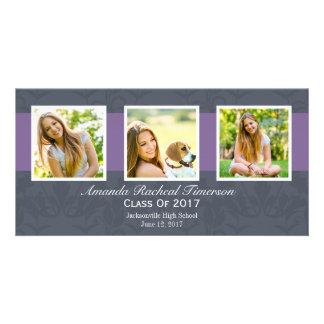 Graduación púrpura elegante de la pizarra de la tarjeta