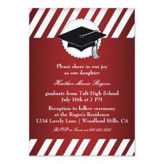 Graduación rayada blanca roja Inivitation Invitación 12,7 X 17,8 Cm