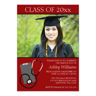 Graduación roja de la foto de la escuela de invitación 12,7 x 17,8 cm