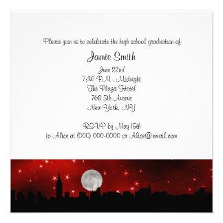 Graduación roja de la luna de la silueta del horiz invitación