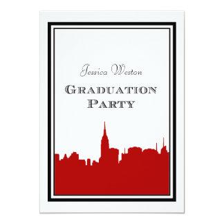 Graduación roja de la silueta #2 DIY del horizonte Invitación 12,7 X 17,8 Cm
