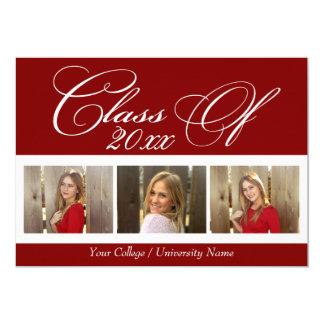 Graduación rojo oscuro elegante de la universidad invitación 12,7 x 17,8 cm