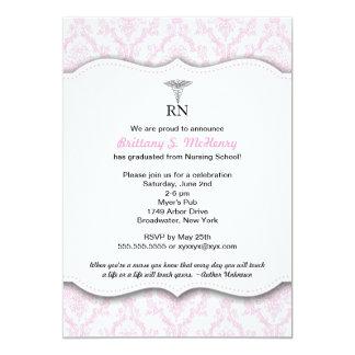 Graduación rosada RN BSN LPN de la escuela de Invitación 12,7 X 17,8 Cm