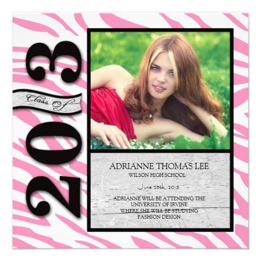 Graduación rosada y blanca 2013 de la cebra invitaciones personales