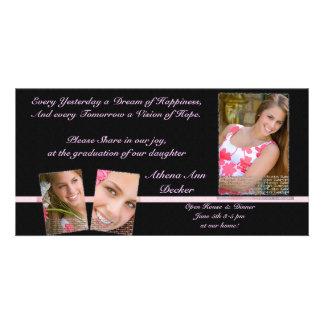 Graduación rosada y negra Annoucment y invitación Tarjeta Personal