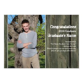 Graduación rústica de la escritura de la foto de invitación 12,7 x 17,8 cm