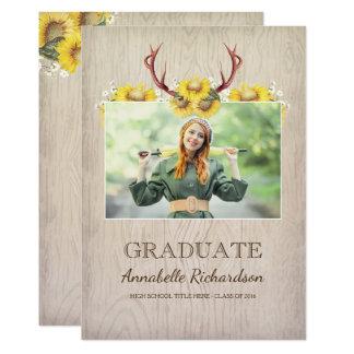 Graduación rústica de la foto de las astas del invitación 12,7 x 17,8 cm