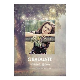 Graduación rústica de la foto de las luces del invitación 12,7 x 17,8 cm