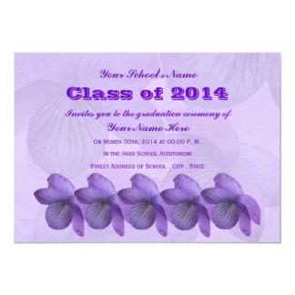 Graduación salvaje de las violetas invitación 12,7 x 17,8 cm