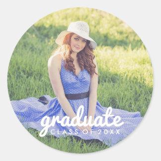 Graduación simple linda de la foto pegatina redonda