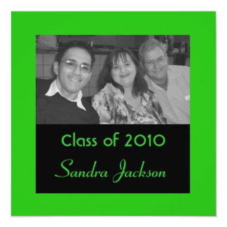 Graduación verde invitación 13,3 cm x 13,3cm