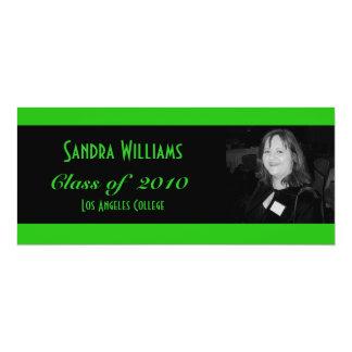 Graduación verde invitación 10,1 x 23,5 cm