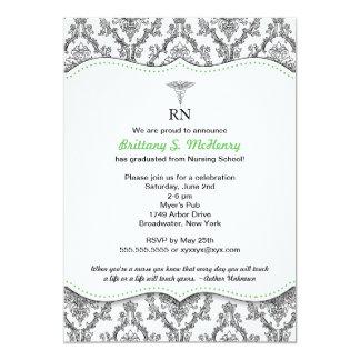 Graduación verde negra RN BSN LPN de la enfermera Invitación 12,7 X 17,8 Cm