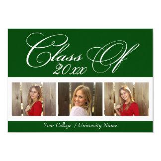 Graduación verde oscuro elegante de la universidad invitación 12,7 x 17,8 cm