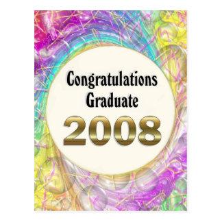 Graduado 2008 de la enhorabuena tarjeta postal