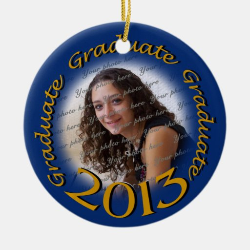 Graduado 2013 azul y marco de la foto del oro adorno