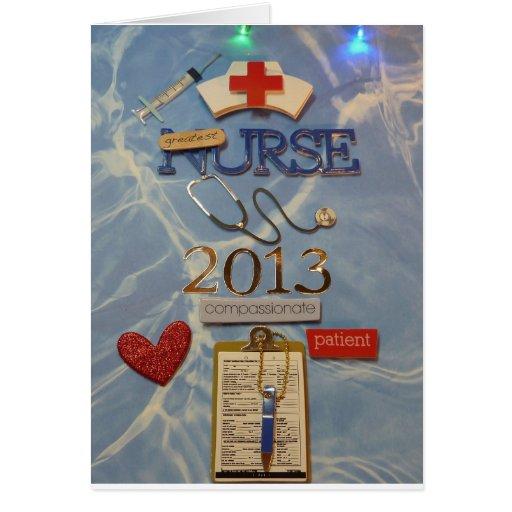 Graduado 2013 de la enfermera con el poema dentro tarjetas