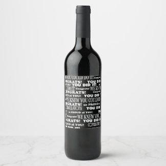 Graduado blanco y negro de los congrats etiqueta para botella de vino