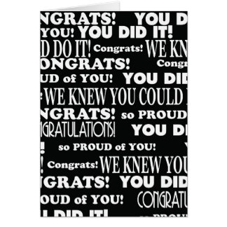 Graduado de Congrats blanco y negro Tarjeta De Felicitación