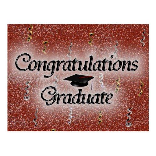 Graduado de la enhorabuena tarjeta postal