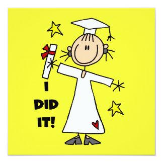 Graduado del chica en las tarjetas planas blancas invitación 13,3 cm x 13,3cm