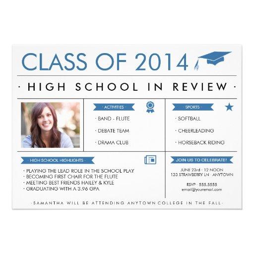 Graduado en azul de la invitación de la graduación