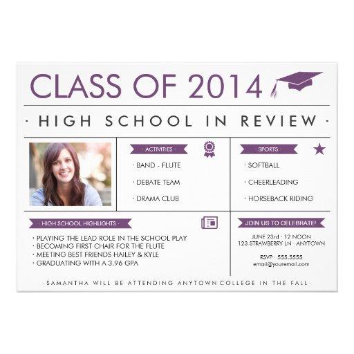 Graduado en púrpura de la invitación de la graduac