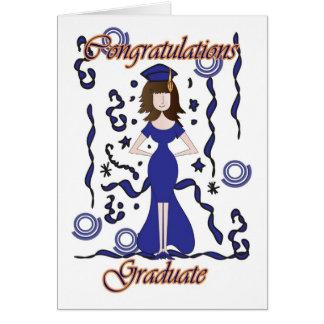 Graduado, enhorabuena de la graduación con el tarjeta de felicitación
