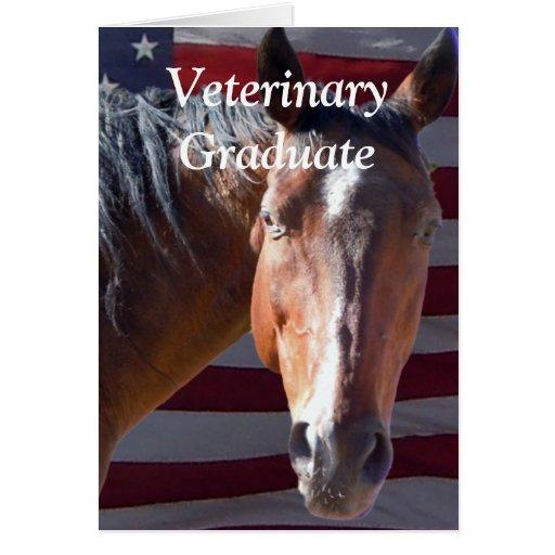 Graduado lindo del veterinario - caballo de granja felicitacion