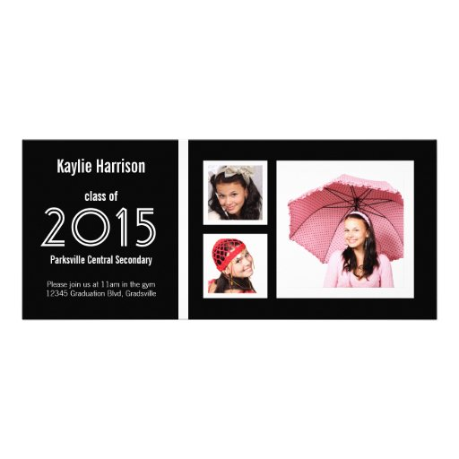 Graduado moderno con 3 fotos invitaciones personalizada