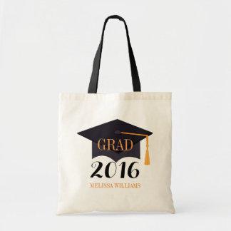 Graduado negro 2016 del ejemplo del gorra del bolso de tela