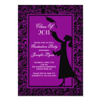 Graduado púrpura de la invitación de la graduación invitación 12,7 x 17,8 cm