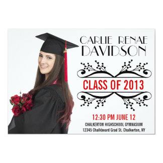 Graduado rojo negro de la foto del letrero de 2013 invitación 12,7 x 17,8 cm