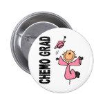 GRADUADO rosado 1 (cáncer de CHEMO de pecho) Chapa Redonda De 5 Cm