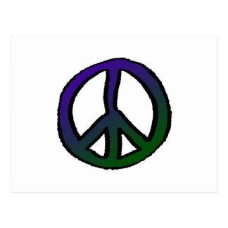 Graduado verde púrpura del signo de la paz tarjeta postal
