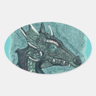 Graelle el mágico ella arte de la fantasía del dra calcomania de óval personalizadas