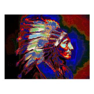 Gráfico americano del jefe indio postal
