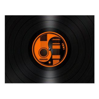 Gráfico anaranjado y negro del vinilo de las postal