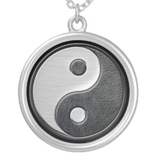 Gráfico de cuero y de acero de Yin Yang del efecto Colgante Redondo
