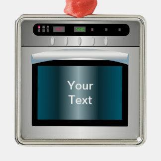 Gráfico del horno con el texto personalizado adorno cuadrado plateado