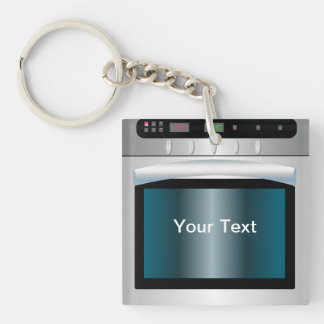 Gráfico del horno con el texto personalizado llavero cuadrado acrílico a una cara