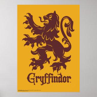 Gráfico del león de Harry Potter el   Gryffindor Póster