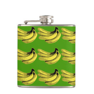 Gráfico del plátano del amarillo del arte pop petaca