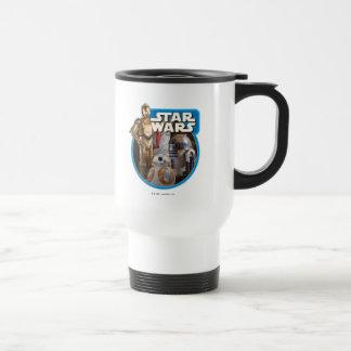 Gráfico del vintage de BB-8, de R2-D2, y de C-3PO Taza De Viaje