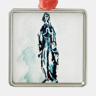Gráfico derecho del Virgen María Adorno Cuadrado Plateado