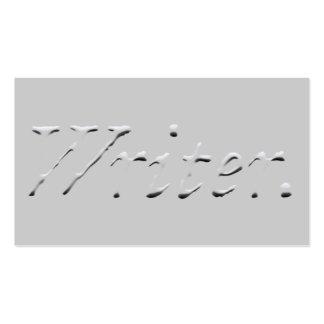 """Gráfico """"grabado en relieve"""" del escritor tarjetas de visita"""