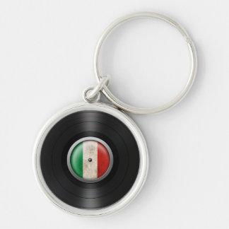 Gráfico italiano del álbum de disco de vinilo de l llavero redondo plateado