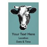 Gráfico retro negro y blanco de la vaca anuncio